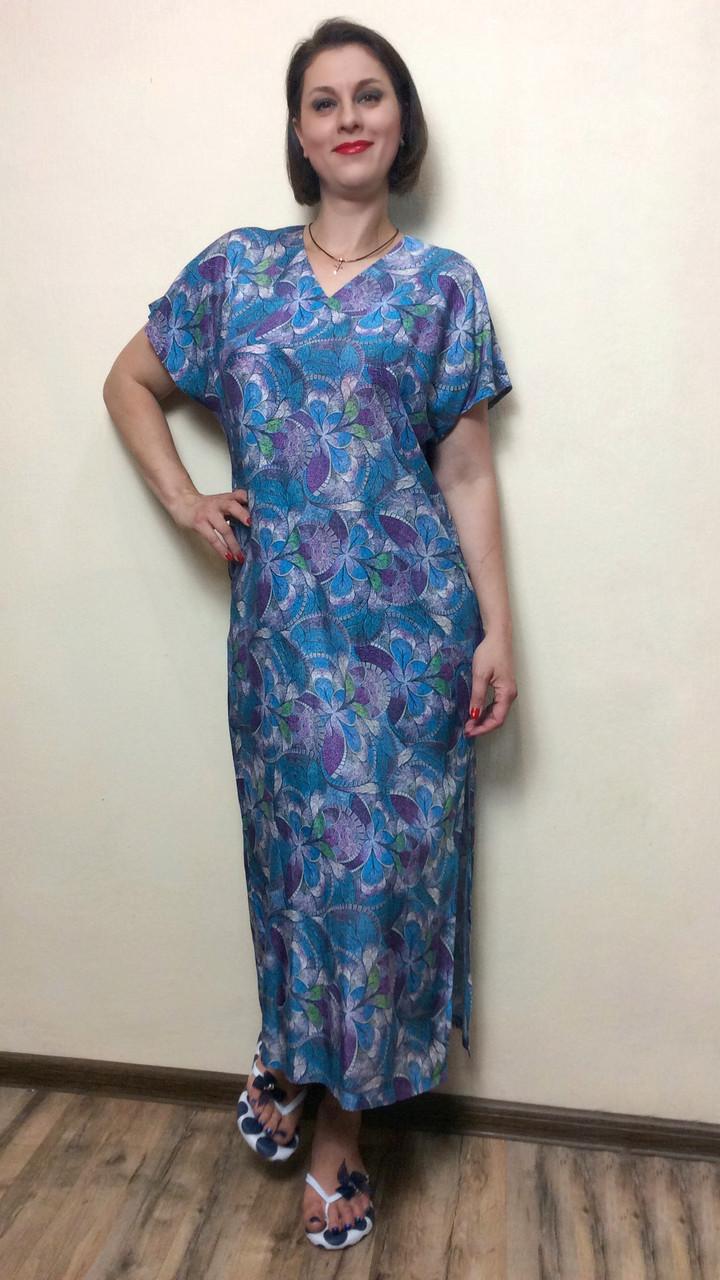 Летнее женское платье прямое с разрезом П237