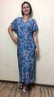 Летнее женское платье прямое с разрезом П237, фото 1