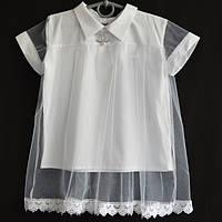 """Блузка школьная детская """"Шанэль"""" #529 с коротким рукавом 128-140-152-164 см рост. Белая. Школьная форма оптом"""