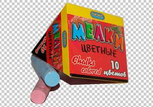 Дитячий крейда кольоровий, крейду, набір кольорової крейди у коробці 10 шт, асфальтний, розмір крейди 2 х 10 см, КА-1410