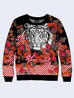 Світшот жіночий/підлітковий unisex Тигр і квіти, фото 1