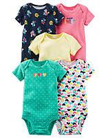 Комлект бодиков с коротким рукавом для девочки Carters сердечки разноцвет, Размер 24м, Размер 24м