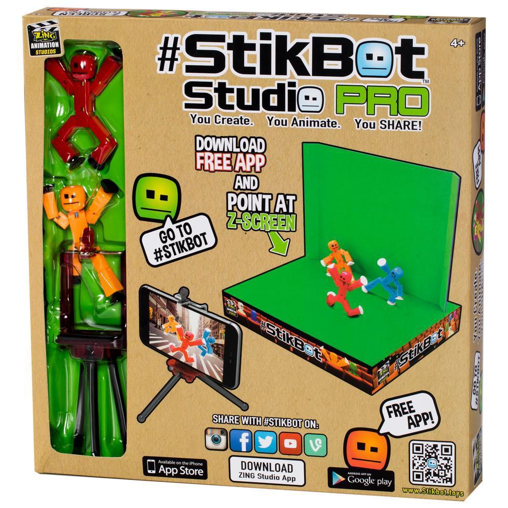 Игровой набор для анимационного творчества Stikbot S1 Студия Z-Screen 2 стикбота + штатив + сцена