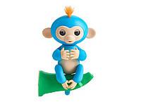 Ручна мавпочка на бат. Happy Monkey інтерактивна (синій), фото 1