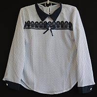 """Блузка школьная детская """"Горошек"""" #4616 с длинным рукавом 128-140-152-164 см рост. Школьная форма оптом, фото 1"""