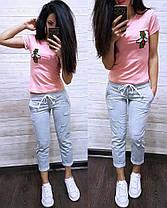 "Повседневный летний костюм ""Стрекоза"", футболка и брюки 7/8 размеры от S до XXL, фото 3"