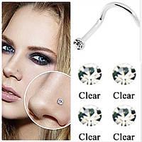 Серьга для пирсинга носа, прозрачный камень, фото 1
