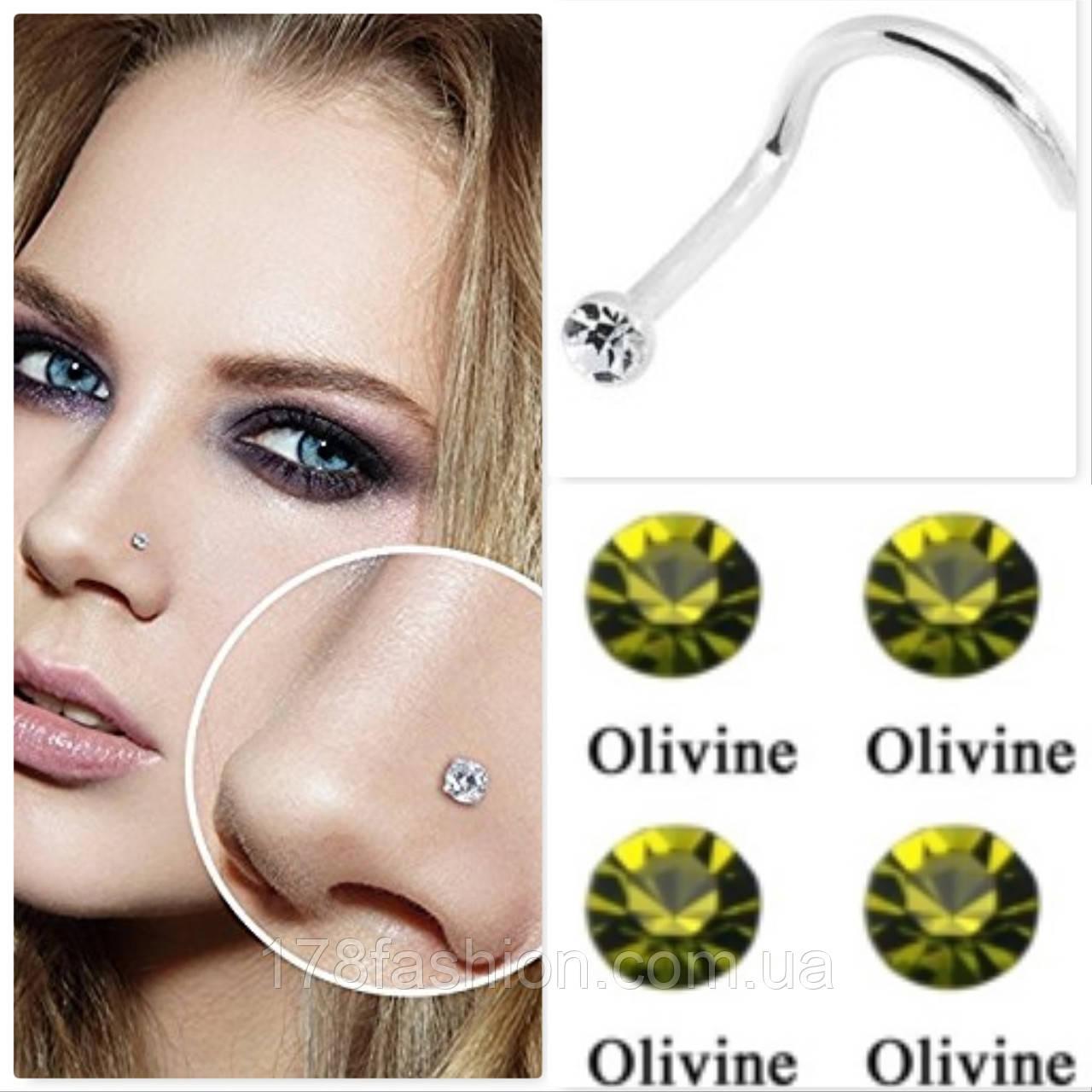 Серьга для пирсинга носа, оливковый камень