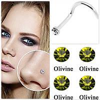 Серьга для пирсинга носа, оливковый камень, фото 1