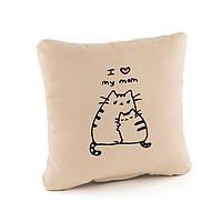 Подушка подарочная для женщин «Люблю маму» беж флок_склад