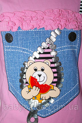 """Батник для девочки """"Медвежонок в джинс. кармане"""" (от 3 до 6 лет), фото 2"""
