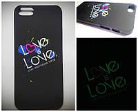 Чехол Epik для Apple iPhone 5 5S SE Светится в Темноте Love Soft-Touch