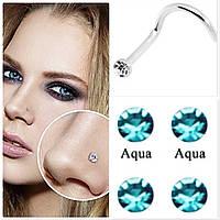 Серьга для пирсинга носа, голубой камень, фото 1