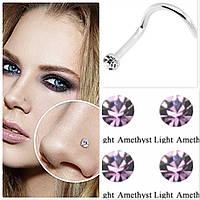 Серьга для пирсинга носа, нежно розовый камень, фото 1