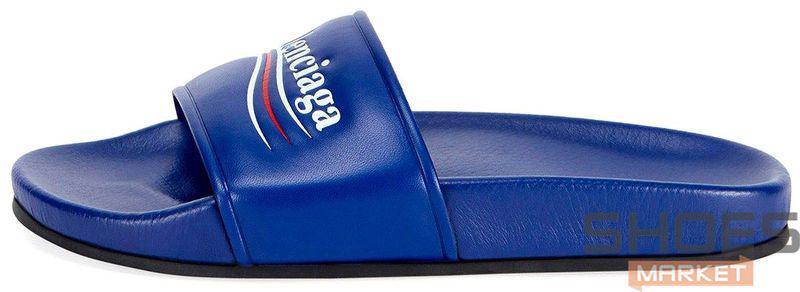 Мужские тапочки Balenciaga Leather Campaign Logo Slides 0400010533827, Баленсиага Трек