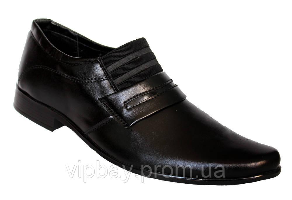 Классические мужские туфли черные на резинку (БК02)