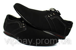 44р. Мужские туфли - мокасины черного цвета (БМ-01ч)