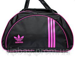 Спортивна жіноча сумка чорного кольору з рожевим логотипом Adidas  (405)