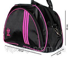 Спортивна жіноча сумка чорного кольору з рожевим логотипом Adidas (копия) (405)