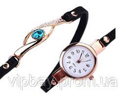 Жіночий годинник - браслет з камінчиком (ч-8)