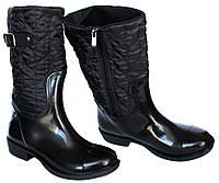 36 и 37 р Резиновые утепленные женские сапоги черные (Ч-12н)