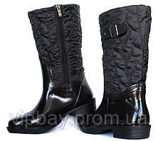 36 і 37 р Гумові утеплені жіночі чоботи чорні (Ч-12н)