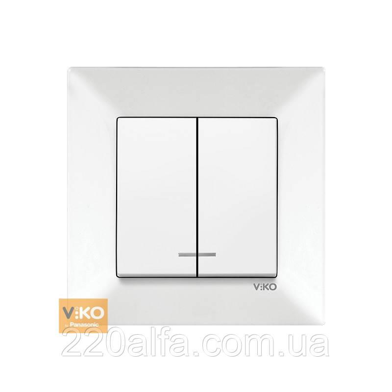Выключатель Viko MERIDIAN с подсветкой, белый, 2 кл.