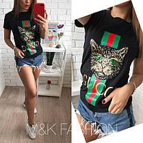Хит сезона Турецкая футболка GUCCI Кошка, размер универсальный 42-46, фото 2
