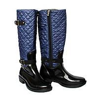 Жіночі гумові чоботи демисезонні синього кольору (БР-3с)