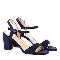 Молодёжные красивые босоножки синие на каблуке, фото 1
