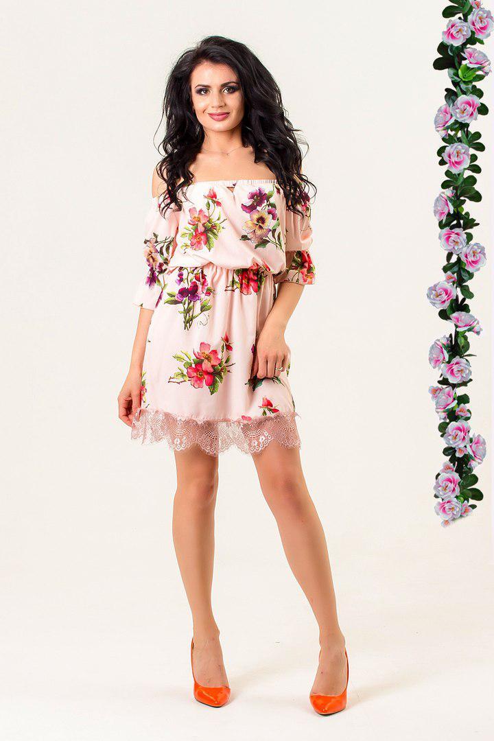 Платье с цветочным принтом, декорировано кружевом / 2 цвета  арт 5697-574