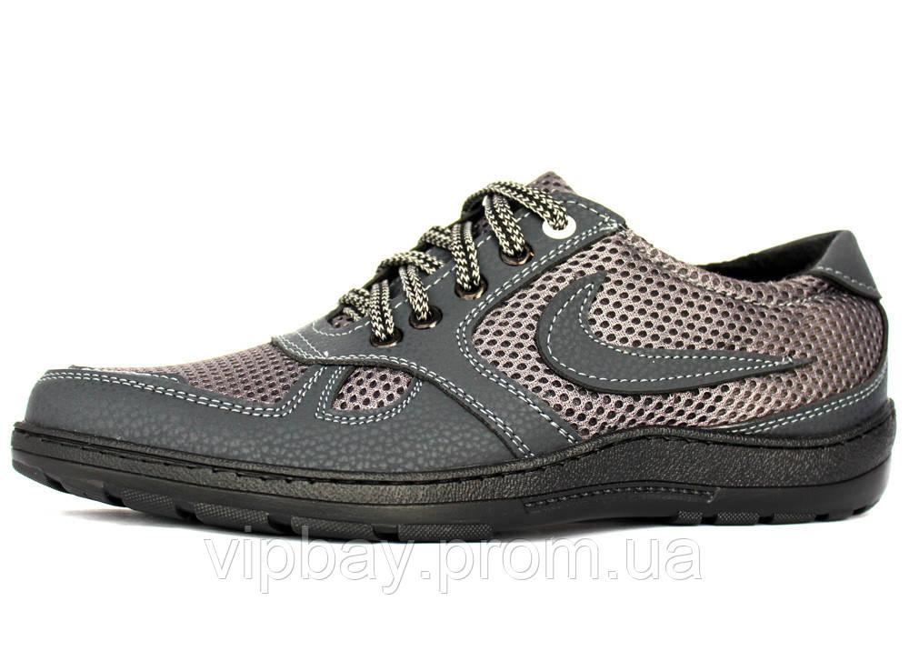 40 р Летние мужские туфли-мокасины серого цвета (СГЛ-5-1ср)