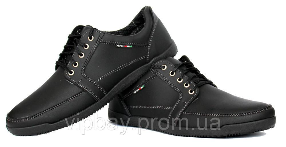 40р Туфли мокасины для мужчин черные демисезонные (БЛ-12ч)