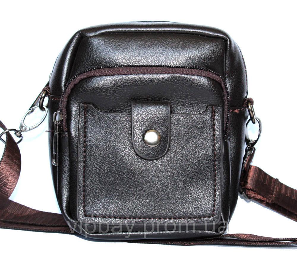Маленькая мужская коричневая сумка через плечо (2030-1)