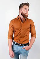 Рубашка мужская однотонная, 100% хлопок AG-0001909 Коричневый, фото 1