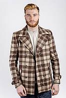 Пальто мужское в клетку AG-0001975 Коричнево-бежевый, фото 1