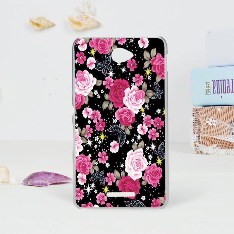Чехол Epik для Sony Xperia E4 Цветы Dark