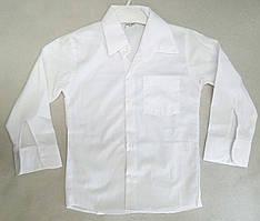 Детская школьная белая рубашка с длинным рукавом на мальчиков 4-10 лет