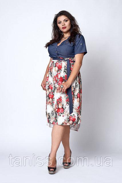 Молодежное платье большого размера, лиф из джинса, низ микромасло р. 50,52-54букетики роз  (562)