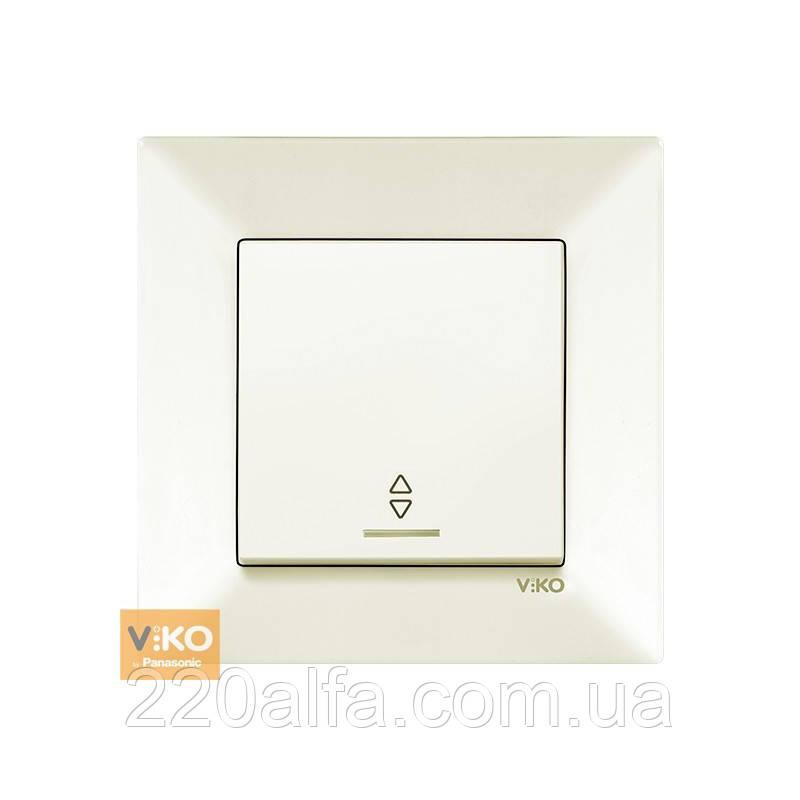 Выключатель проходной Viko Meridian с подсветкой, крем, 1кл.
