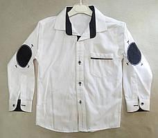 8c6f9c053be Детская школьная белая рубашка с длинным рукавом со вставками для мальчиков  7-10 лет