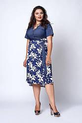 Молодіжне плаття великого розміру, ліф з джинса, низ микромасло р. 50,52,54 білі квіти (562)