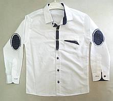 Детская школьная белая рубашка с длинным рукавом со вставками для мальчиков 7-10 лет