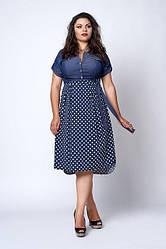 Молодіжне плаття великого розміру, ліф з джинса, низ микромасло р. 54-56 горох (562)