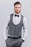 Жилет мужской под костюм, серая клетка AG-0003033 Серый, фото 1