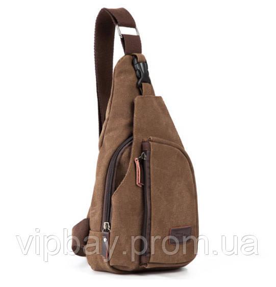 Мужской рюкзак - сумочка через плечо коричневый К-1