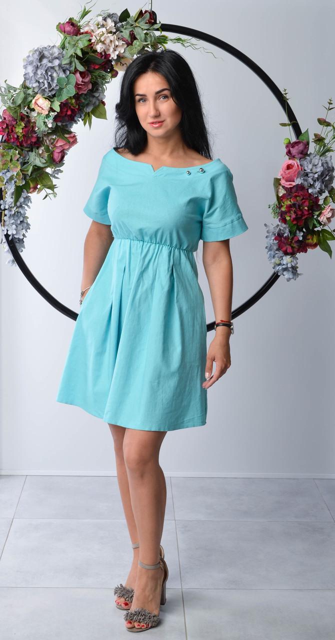 Модное женское платье с коротким рукавом голубого цвета