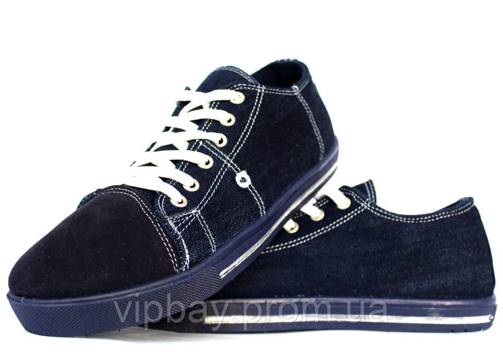 41 р Мужские джинсовые кеды - кроссовки синего цвета (ПР-2803д)