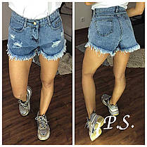 Стильные шорты, ткань джинс котон. Размеры s m l, фото 3