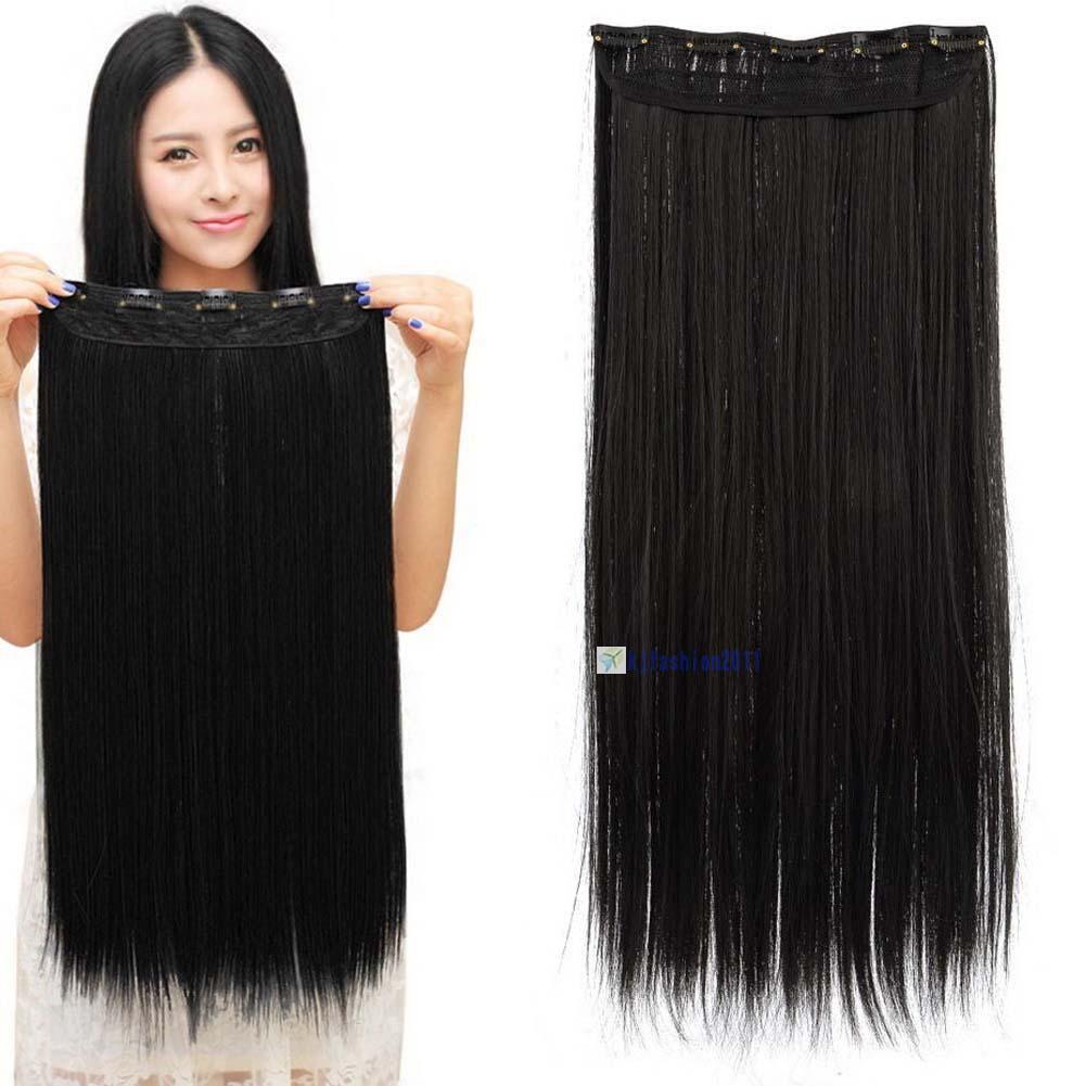 Волосы на заколках тресс затылочная прядь 60 см ТЕРМО волосы черный №1